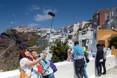 View of two Young attractive asian tourist taking selfie in San stock photo