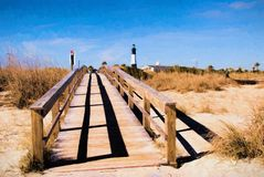 View of Tybee Island Georgia Lighthouse from the Beach. Beach point of view of the famous Tybee Island Georgia lighthouse which includes a boardwalk and sand royalty free stock photo