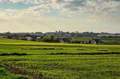 View on Tychy City in Poland. TYCHY, POLAND - APRIL 25, 2018: View from the outskirts of the city on the city of Tychy, Poland Royalty Free Stock Photo