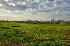 View on Tychy City in Poland. TYCHY, POLAND - APRIL 25, 2018: View from the outskirts of the city on the city of Tychy, Poland Royalty Free Stock Photos