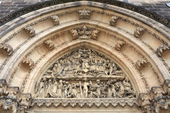 View of tympanum of St Peter and St Paul basilica. In Vysehrad fortress in Prague, Czech Republic Stock Photo