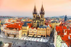 Tyn Church and Old Town Square, Prague, Czech Republic. View of the Tyn Church and Old Town Square, Prague, Czech Republic Royalty Free Stock Photos
