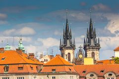 View of the Tyn Church in Prague Royalty Free Stock Photo