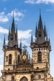 View of the Tyn Church in Prague Royalty Free Stock Images