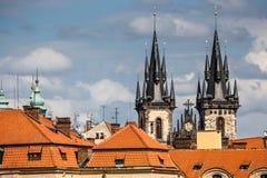 View of the Tyn Church in Prague Stock Photo