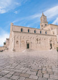 View of typical of church of Matera, Cathedral of Matera under blue sky Stock Image