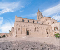 View of typical church of Matera, Cathedral of Matera under blue sky Royalty Free Stock Photo