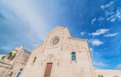 View of typical church of Matera, Cathedral of Matera under blue sky Royalty Free Stock Photos