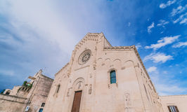 View of typical church of Matera, Cathedral of Matera under blue sky Stock Images