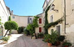 View of a typical courtyard house in Salon de Provence, France. stock photos