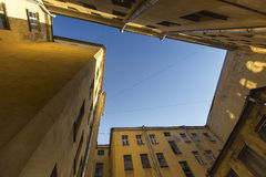 View on a typical courtyard-a well in the old district of St. Petersburg Stock Image