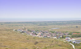 View at typical Dutch houses on island Ameland Royalty Free Stock Images
