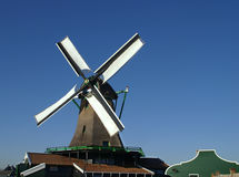 View on typical dutch windmill. Rebuild wood saw mill from the past Royalty Free Stock Photography