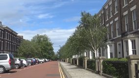 View on typical english street. Street and trees- A beautiful street, road and different trees all around it, UK stock video