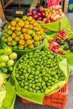 Typical san Salvador. A view of a typical fruit market scene in the central street market in San Salvador, El Salvador stock photos