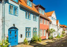 View of a typical german-danish street with colored houses stock image