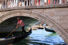 View of typical gondola in Venice lagoon Stock Photos