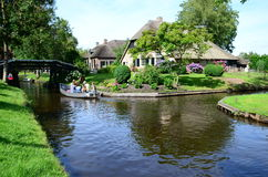 View of typical houses of Giethoorn in Giethoorn,The Netherlands. Royalty Free Stock Photos