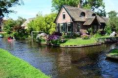 View of typical houses of Giethoorn,The Netherlands. Royalty Free Stock Images