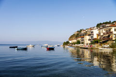 View of a typical houses situated at the edge of ohrid Stock Images