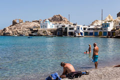 View of The typical little village of Klima in Milos island Gree Stock Photos