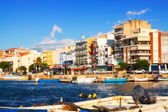 View of typical mediterranean town from port Stock Photography