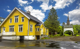 View of typical norwegian houses in Sortland. Stock Image