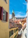 View of a typical old narrow street in the old town of Bamberg i Royalty Free Stock Photography