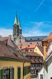 View of a typical old narrow street in the old town of Bamberg i Stock Photos