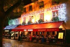 The View of typical paris cafe Chez Eugene in Paris, Montmartre area , France. PARIS , France- November 11, 2017: View of typical paris cafe in Paris stock photo