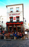 The View of typical paris cafe Consulat in Paris, Montmartre area , France. Stock Images