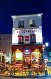 The View of typical paris cafe Consulat in Paris, Montmartre area , France. Royalty Free Stock Photography