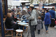 View of typical paris cafe on May 1, 2013 in Pari Royalty Free Stock Image