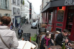 View of typical paris cafe on May 1, 2013 in Pari Royalty Free Stock Photography