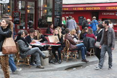 View of typical paris cafe on May 1, 2013 in Pari Royalty Free Stock Photo
