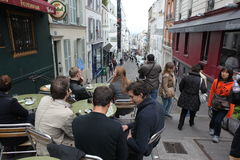 View of typical paris cafe on May 1, 2013 in Pari Royalty Free Stock Images