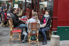 View of typical paris cafe on May 1, 2013 in Pari Stock Images