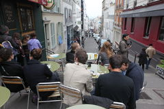View of typical paris cafe on May 1, 2013 in Pari Royalty Free Stock Photos