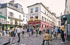 View of typical paris cafe on September 08, 2013 in Paris Royalty Free Stock Images