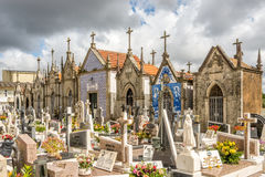 View of a typical Portuguese village cemetery near Our Lady of Amparo church in Valega - Portugal Royalty Free Stock Photos