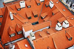 A view of typical Prague house with red tile roof stock image