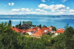 View of typical small village at lake Ohrid in Macedonia. A View of typical small village at lake Ohrid in Macedonia Royalty Free Stock Image