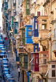 A view of the typical Street of Valletta with traditional maltes Stock Images