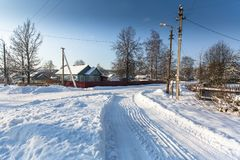 View of a typical urban-type settlement at winter. Russia Royalty Free Stock Image
