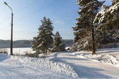 View of a typical urban-type settlement at winter. Russia Royalty Free Stock Images
