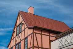 A view of typical vintage house with tile roof.  royalty free stock photo