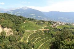View from Tyrol Castle towards Tirol mountain panorama, South Tyrol. Italy Royalty Free Stock Images