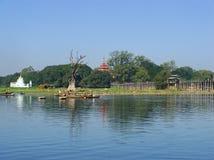 View of U Bein bridge and lake, Amarapura, Myanmar Royalty Free Stock Image