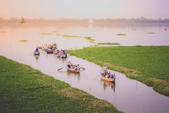 View on U Bein Bridge stock image