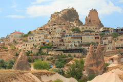 View of Uchisar castle in Cappadocia Stock Photos